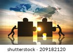 world business teamwork puzzle... | Shutterstock . vector #209182120