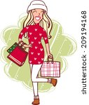 woman with christmas shopping | Shutterstock . vector #209194168