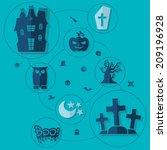 halloween flat infographic   Shutterstock .eps vector #209196928