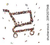 People that like to shop. Large group of people in the form of a shopping cart. Shopping or sale concept on a white background.Room for text or copy space, - stock photo