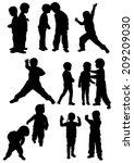 children silhouettes | Shutterstock .eps vector #209209030