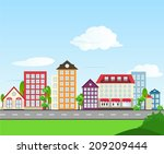 road color house illustration | Shutterstock .eps vector #209209444