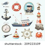 set of fishing and sea items | Shutterstock .eps vector #209223109