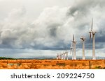 a broken wind farm under gloomy ... | Shutterstock . vector #209224750