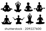 meditation silhouettes on the...