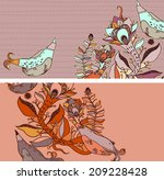 vector set of postcard size... | Shutterstock .eps vector #209228428