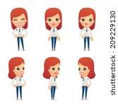 set of reception character in... | Shutterstock .eps vector #209229130