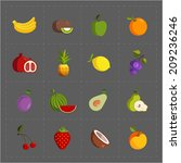 colorful fruit icon set on grey ... | Shutterstock .eps vector #209236246