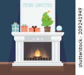 christmas card with fireplace | Shutterstock .eps vector #209241949