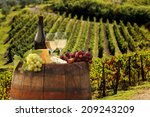 white wine with barrel on... | Shutterstock . vector #209243209