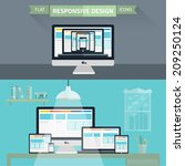 set of flat responsive design... | Shutterstock .eps vector #209250124