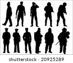 Police And Fireman Silhouette...