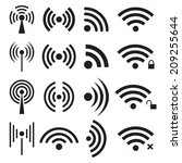 set of black wireless and wifi... | Shutterstock .eps vector #209255644