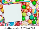 white sheet on candy and sweets.... | Shutterstock . vector #209267764