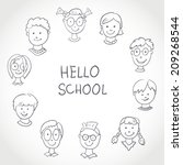 hello school. kids face set... | Shutterstock .eps vector #209268544