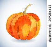 Watercolor Pumpkin On White...
