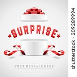open gift box and with red bow... | Shutterstock .eps vector #209289994