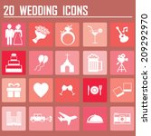 20 set of flat wedding icons  | Shutterstock .eps vector #209292970