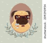 pug hipster with cup of coffee | Shutterstock . vector #209293954