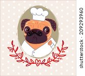 pug chef frenchman | Shutterstock . vector #209293960