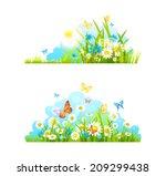 summer design elements. grass ... | Shutterstock . vector #209299438