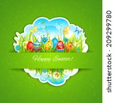 easter holiday background....   Shutterstock . vector #209299780