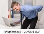 handsome man feeling pain in... | Shutterstock . vector #209301169