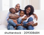 happy family posing on the... | Shutterstock . vector #209308684