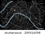 black and white paris map | Shutterstock .eps vector #209316598