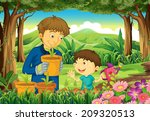 illustration of a father and a... | Shutterstock . vector #209320513