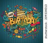 birthday hand lettering and... | Shutterstock .eps vector #209334013