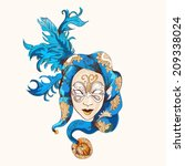 venetian  blue mask vector card ... | Shutterstock .eps vector #209338024
