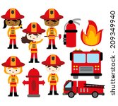 african,american,boys,extinguisher,fire,firefighter,girls,kids,truck