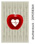 vector of red apple on gray... | Shutterstock .eps vector #209358364