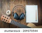 headphone guitar notebook and... | Shutterstock . vector #209370544