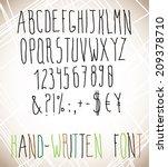 hand written letters  numbers... | Shutterstock .eps vector #209378710