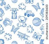 seamless pattern kids stuff | Shutterstock . vector #209383600