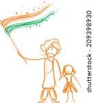 illustration of indian flag | Shutterstock .eps vector #209398930