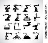 robot icons set  industry robot ... | Shutterstock .eps vector #209406424
