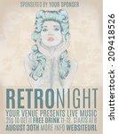 retro night invitation flyer...   Shutterstock .eps vector #209418526
