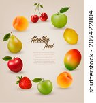 set of healthy food fruit.... | Shutterstock .eps vector #209422804