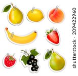 set of flat fruit stickers with ...   Shutterstock .eps vector #209422960
