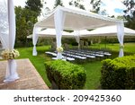 wedding marquee with bouquets... | Shutterstock . vector #209425360