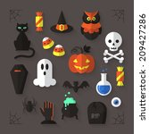 Flat Modern Icons For Hallowee...