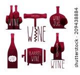 vector wine elements. wine card.... | Shutterstock .eps vector #209438884