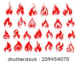 Red Fire Flat Icons And...