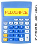 Small photo of Calculator with ALLOWANCE on display isolated on white background