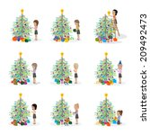 people decorating christmas... | Shutterstock .eps vector #209492473