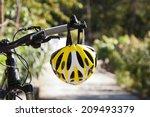 cycling helmet closeup on... | Shutterstock . vector #209493379