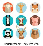 animals avatars collection in... | Shutterstock . vector #209495998